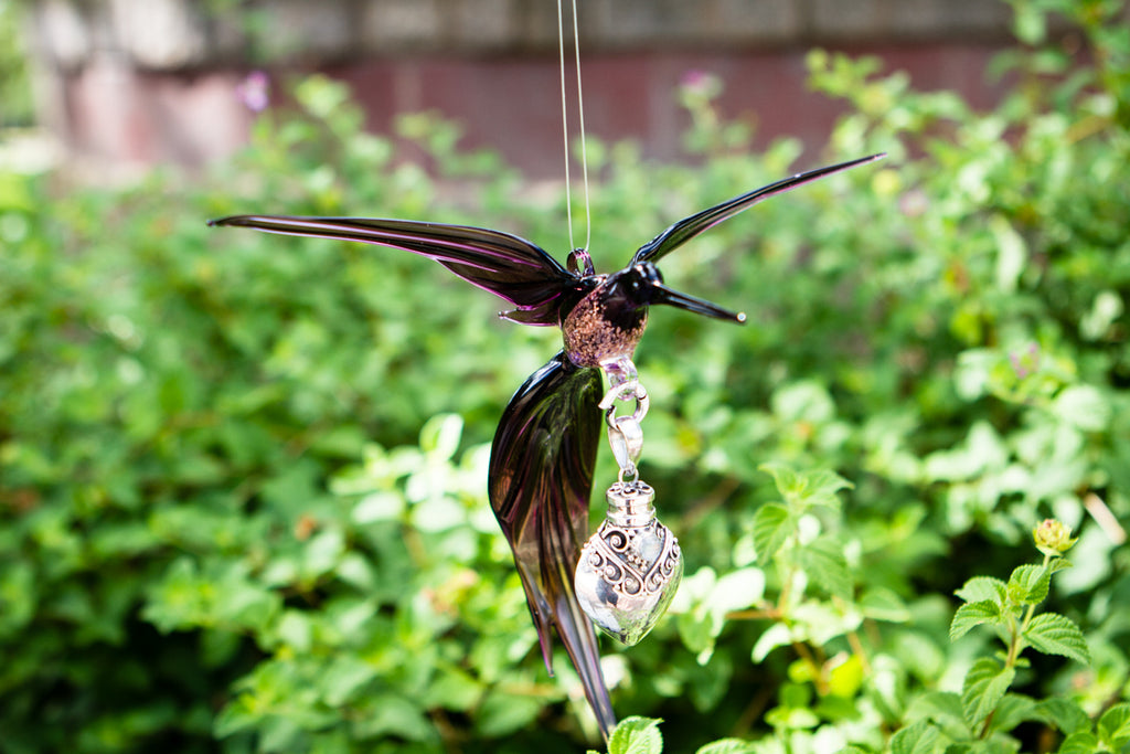 Hummingbird Figurine with Silver Keepsake for Ashes Multiple Colors Available by Spirit Pieces - SUNCATCHER | $114.00, ashes in glass