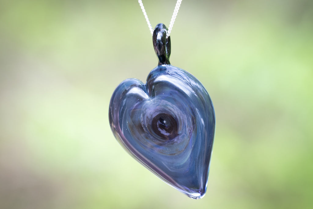 Deep Space Heart Pendant with Cremation Ash - Cremation Jewelry | $219.00