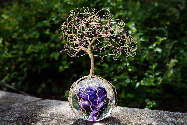 Purple Rain Tree Of Life With Swarovski Crystals And