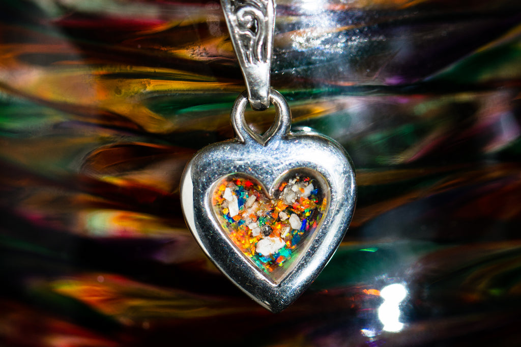 cremation jewelry heart with cremains