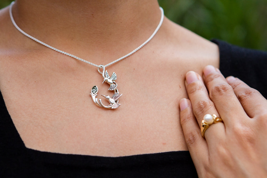 Silver Double Hummingbird Memorial Necklace with Cremation Ash - Cremation Jewelry | $189.00