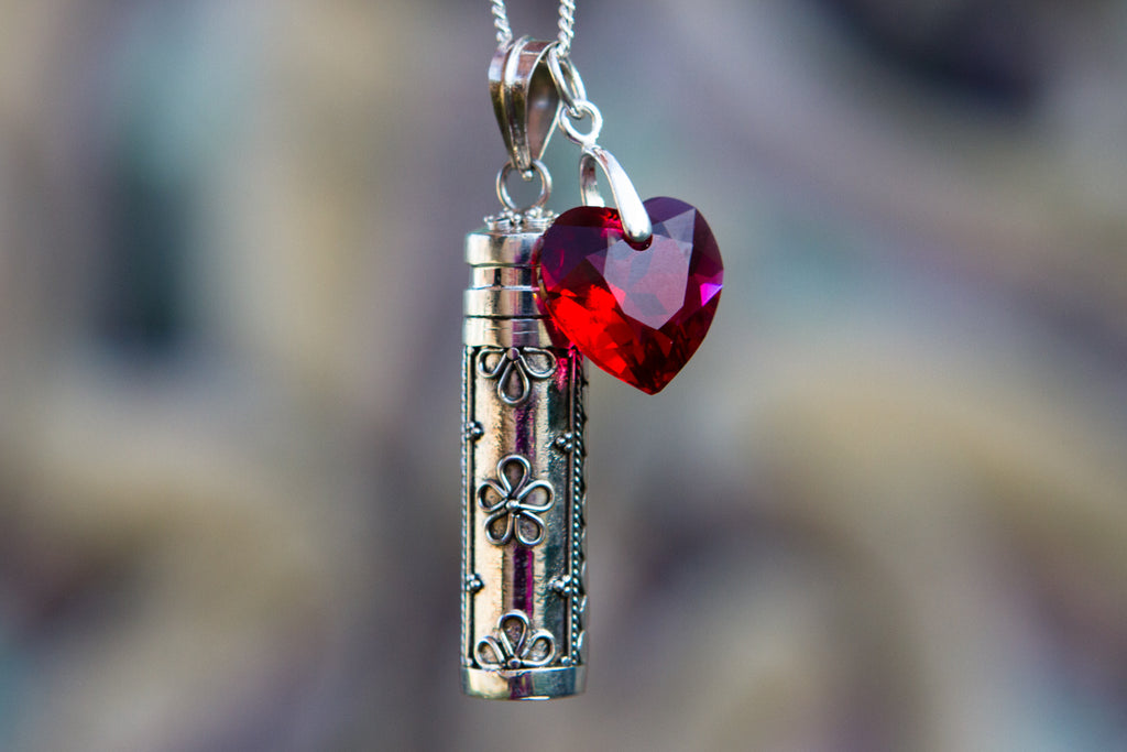 Sterling silver pendant with crystal heart