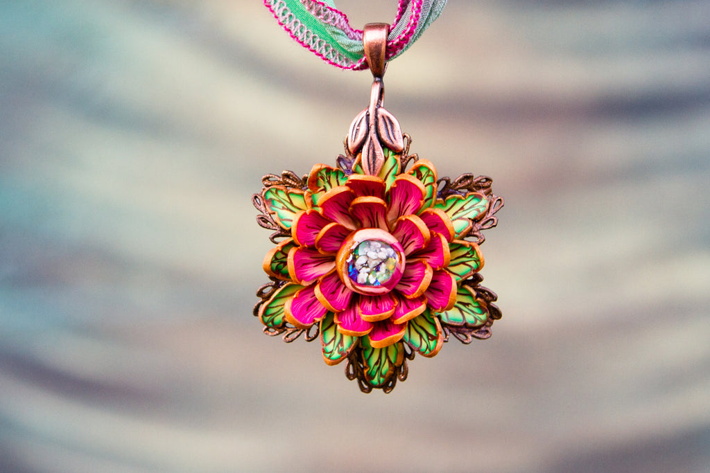 Summer Splendor Rose Memorial Pendant with Opals and Cremains