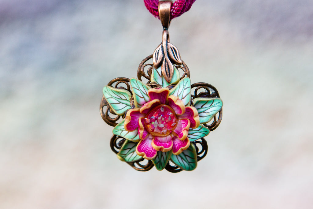 Pink Mint Rose Memorial Pendant with Opals and Cremains