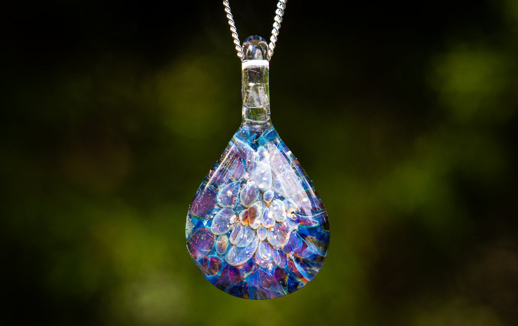 Nebula Teardrop Pendant with Infused Cremation Ash - Cremation Jewelry | Glass with Cremation Ash | $114.00