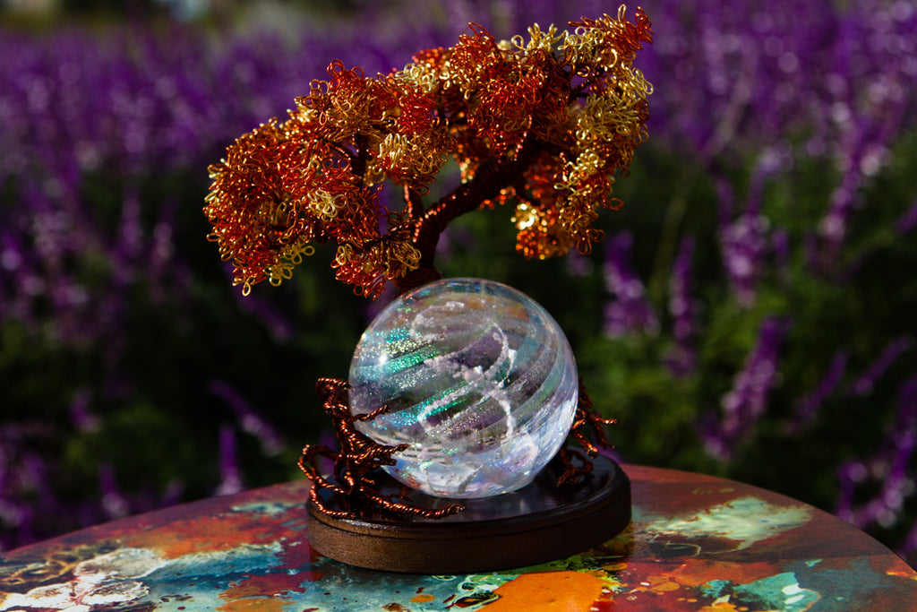 Autumn Sunshine Tree Of Life with Dichroic Orb - PAPERWEIGHT | $469.00