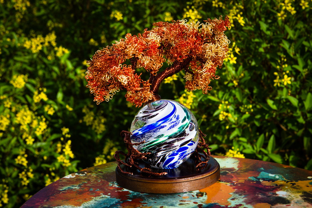 Autumn Sunshine Tree Of Life - TREE ONLY by Tyler - PAPERWEIGHT | $315.00, ashes in glass