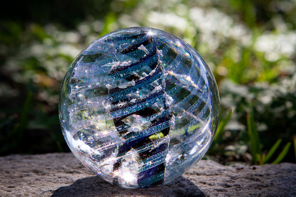 Dark Dichroic Spiral Orb with Cremains - PAPERWEIGHT | $134.00
