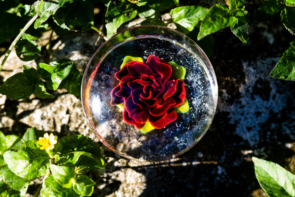 Large Rose Glass Touchstone with Infused Cremains