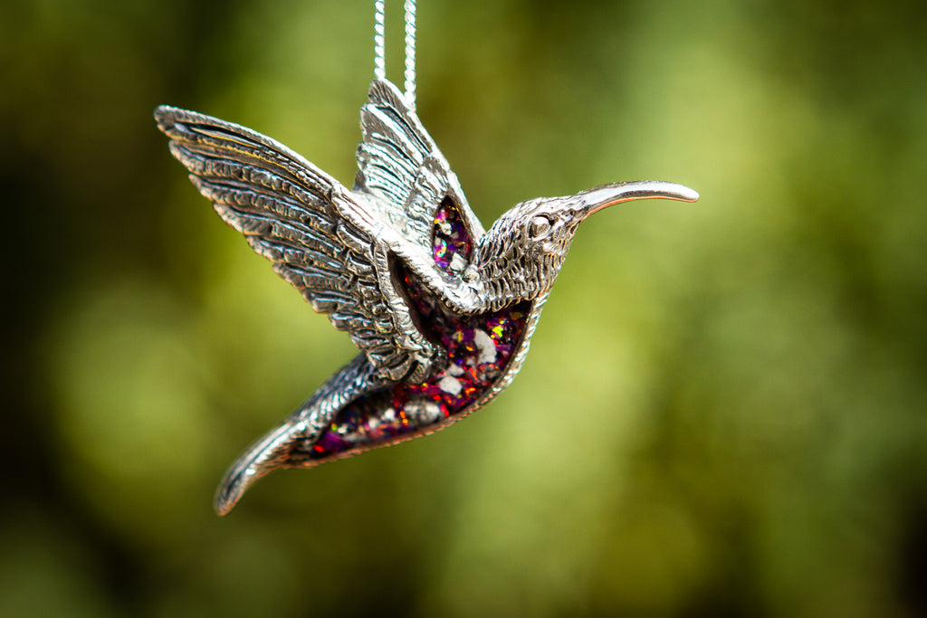hummingbird pendant with opal