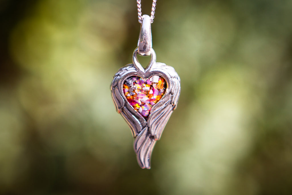 petite angel wing heart pendant