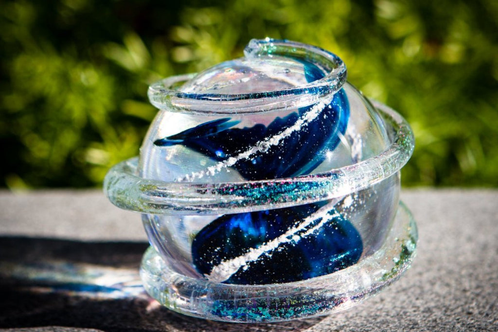 Dichroic Ring Blue Planet with Cremains by Tyler - Glass Cremation Ash | Glass Paperweight with Cremation Ash | Glass Memorial | $119.00, ashes in glass