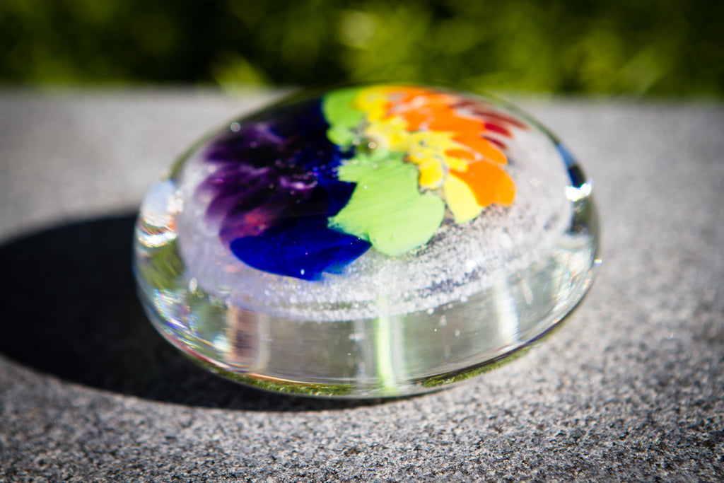 Rainbow's End Paperweight with Cremation Ash