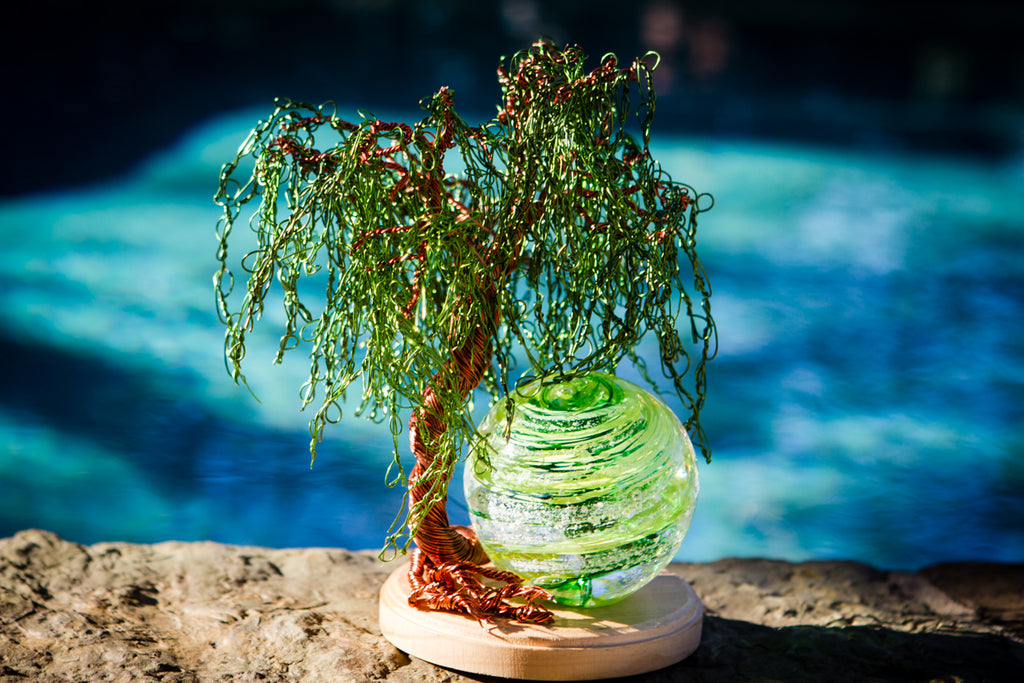 Weeping Willow Tree Of Life with Tranquil Swirl Orb Infused with Cremains by Rachel - PAPERWEIGHT | $499.00, ashes in glass