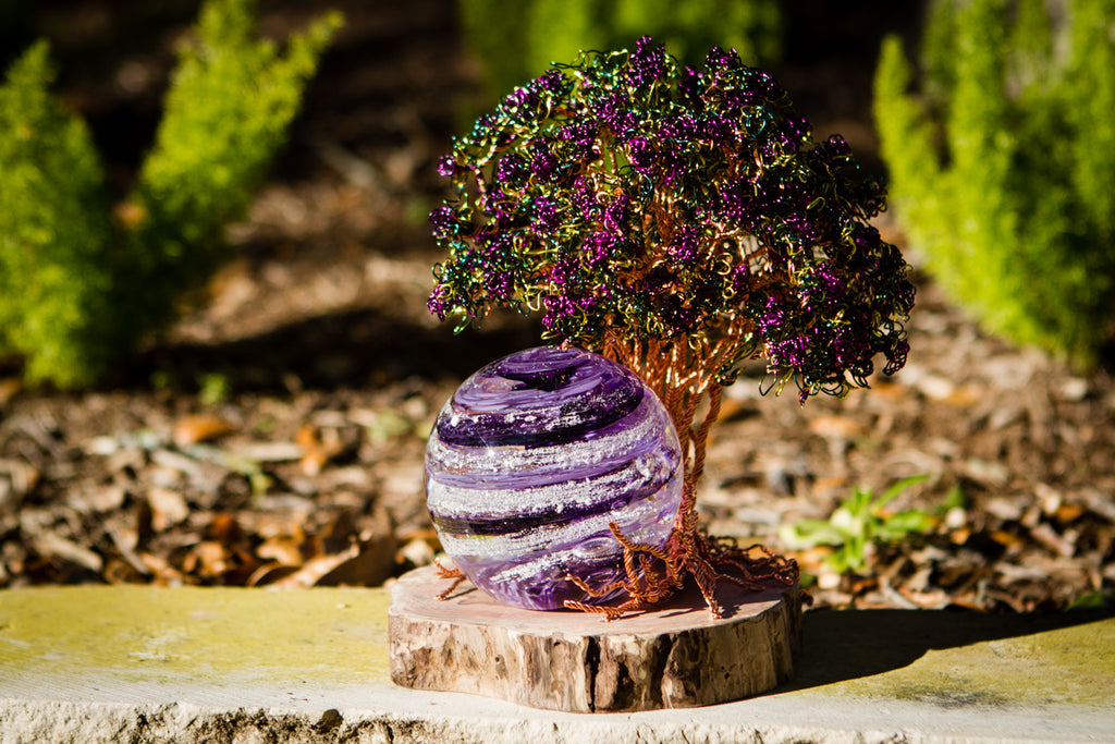 Purple Crepe Myrtle Tree Of Life and Sparkle Orb with Cremation Ash - PAPERWEIGHT | $779.00