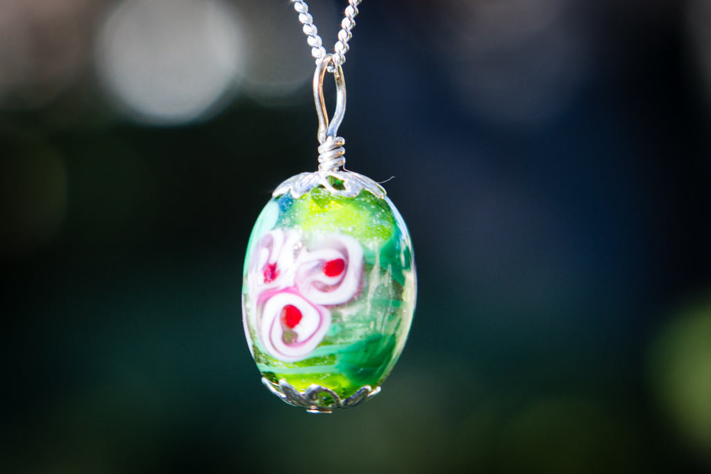 Oval Glass Flower Pendant with Infused Cremains by Barbara - GLASS-JEWELRY | $89.00, ashes in glass