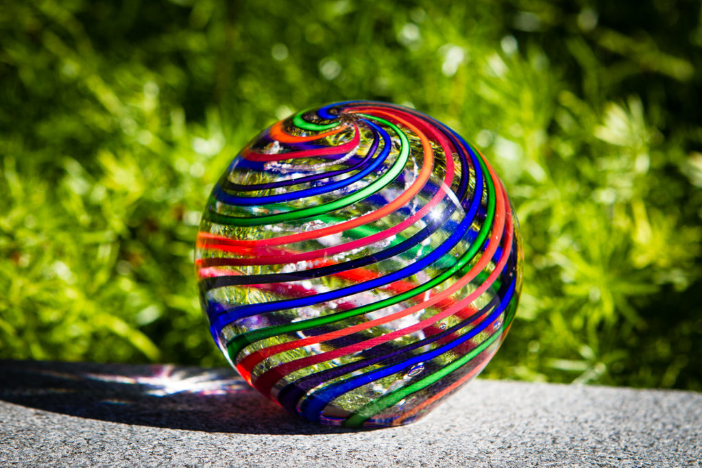 Giant Striped Rainbow Orb with Cremation Ash by Tyler - Paperewight > Paperweight with Cremation Ash > Paperweight with Pet Ashes > Glass with Ashes > Glass Paperweight with Cremation Ash > Glass Memorial | $409.00, ashes in glass