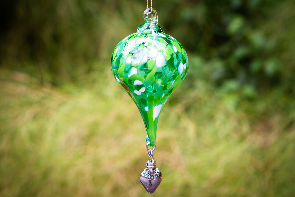 Hanging Spotted Glass Ornament with Silver Keepsake Urn
