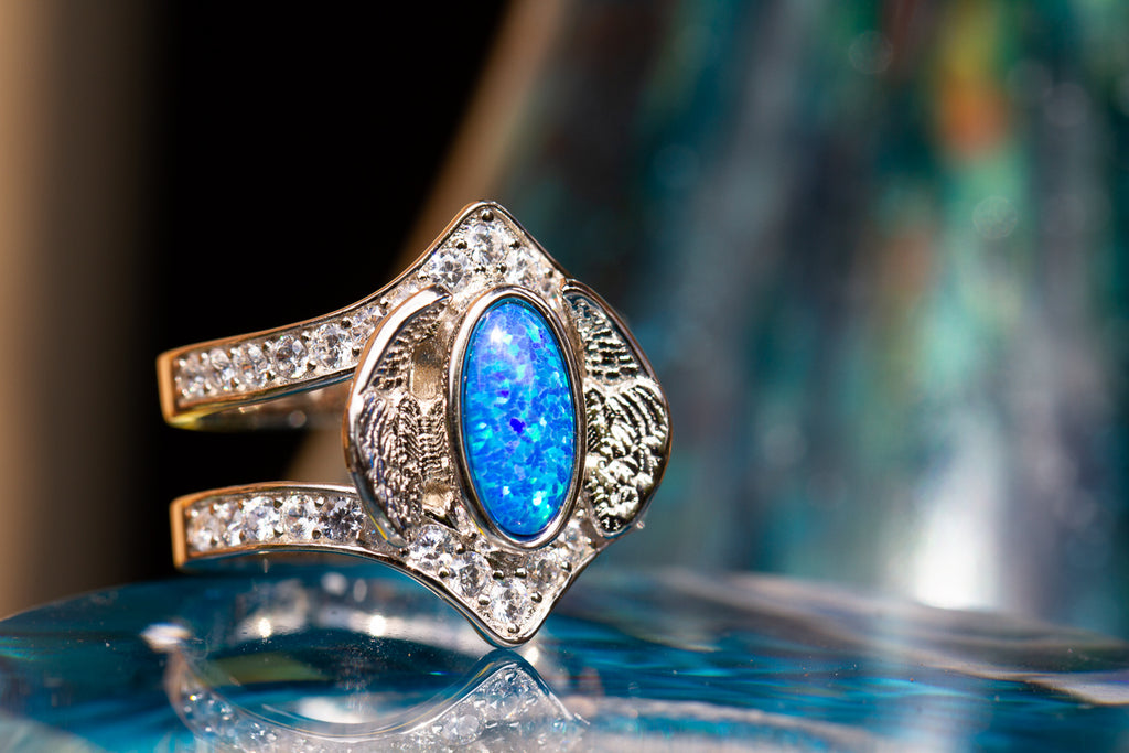 Embraced Opal Angel Wings Ring