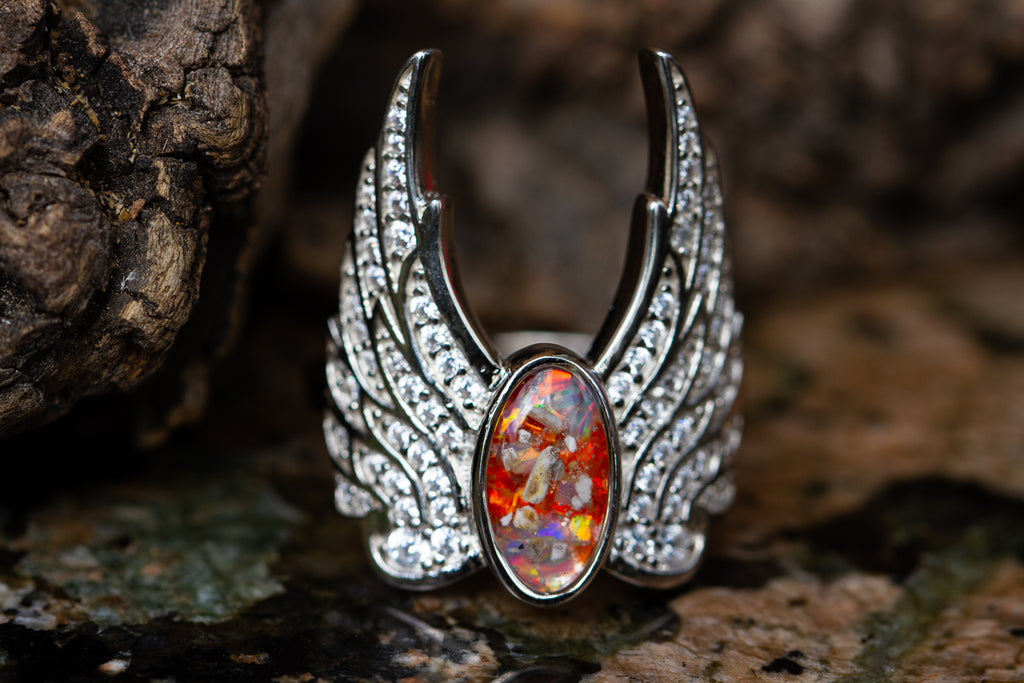 Celestial Feathers Angel Ring with Cremation Ash