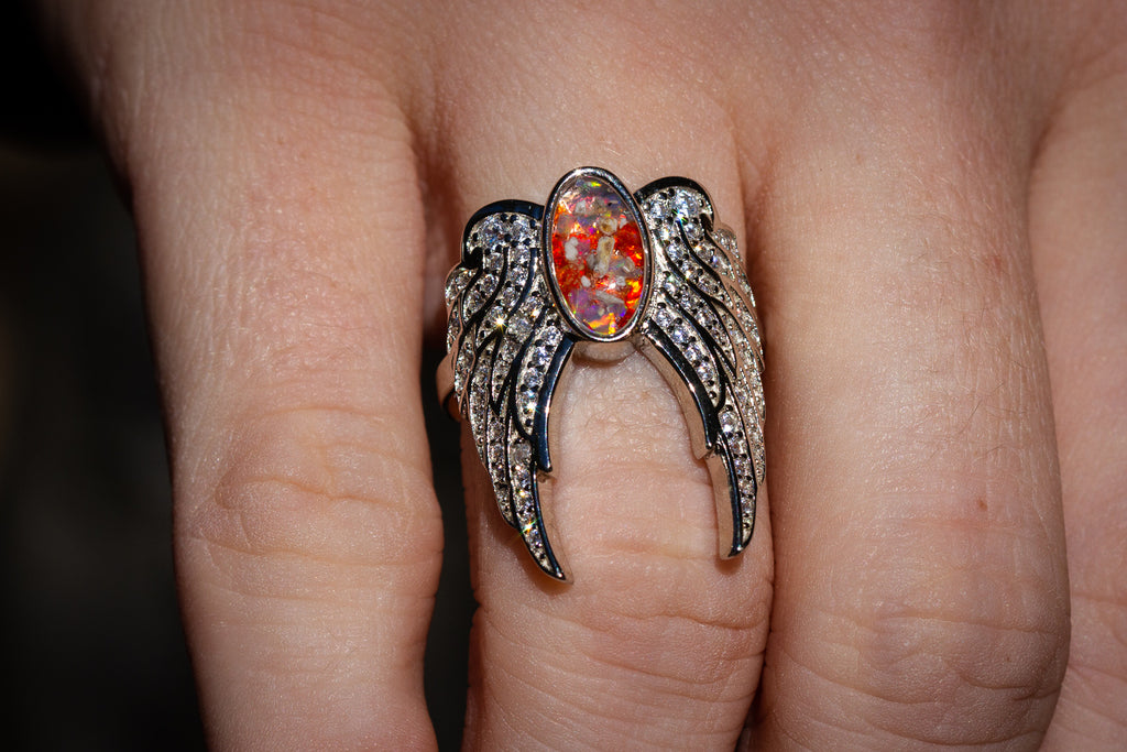 silver angel ring
