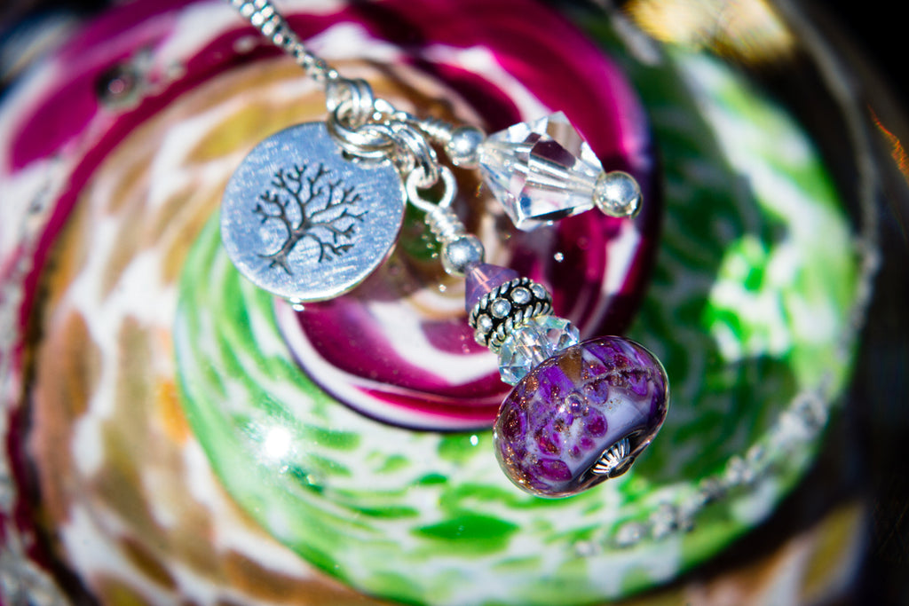 Glass Bead Charm Necklace with Infused Cremains