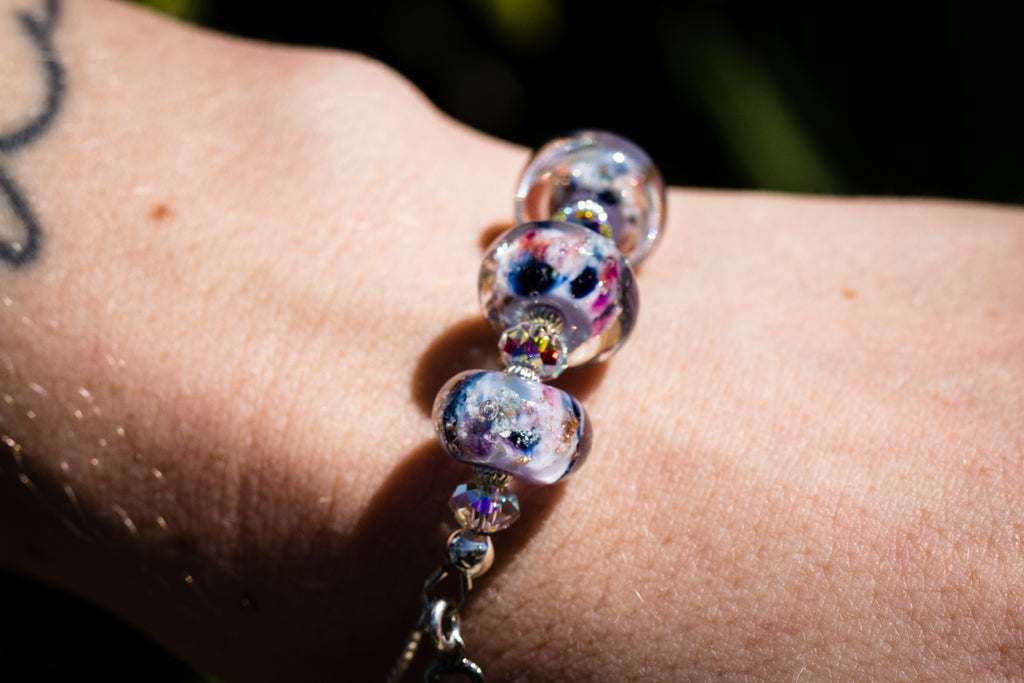 Three Glass Bead Bolo Bracelet with Cremains