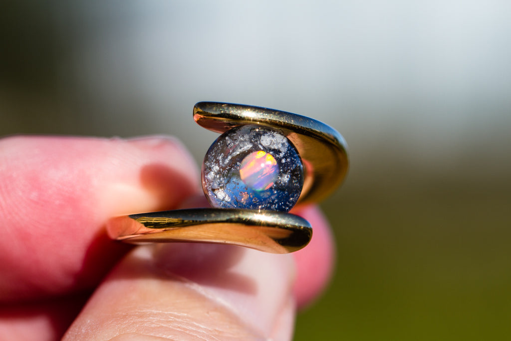 Gold Plated Orbit Ring with 10mm Opal Marble with Cremains - Cremation Jewelry | $169.00