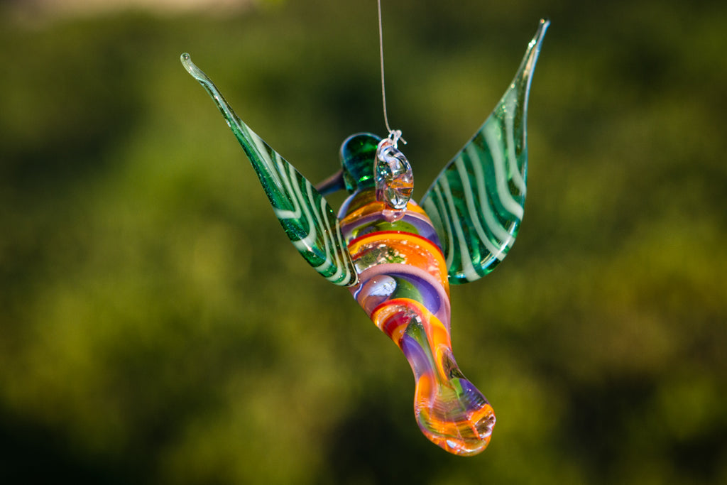 Rainbow Glass Hummingbird with Infused Ash - SUNCATCHER | $109.00