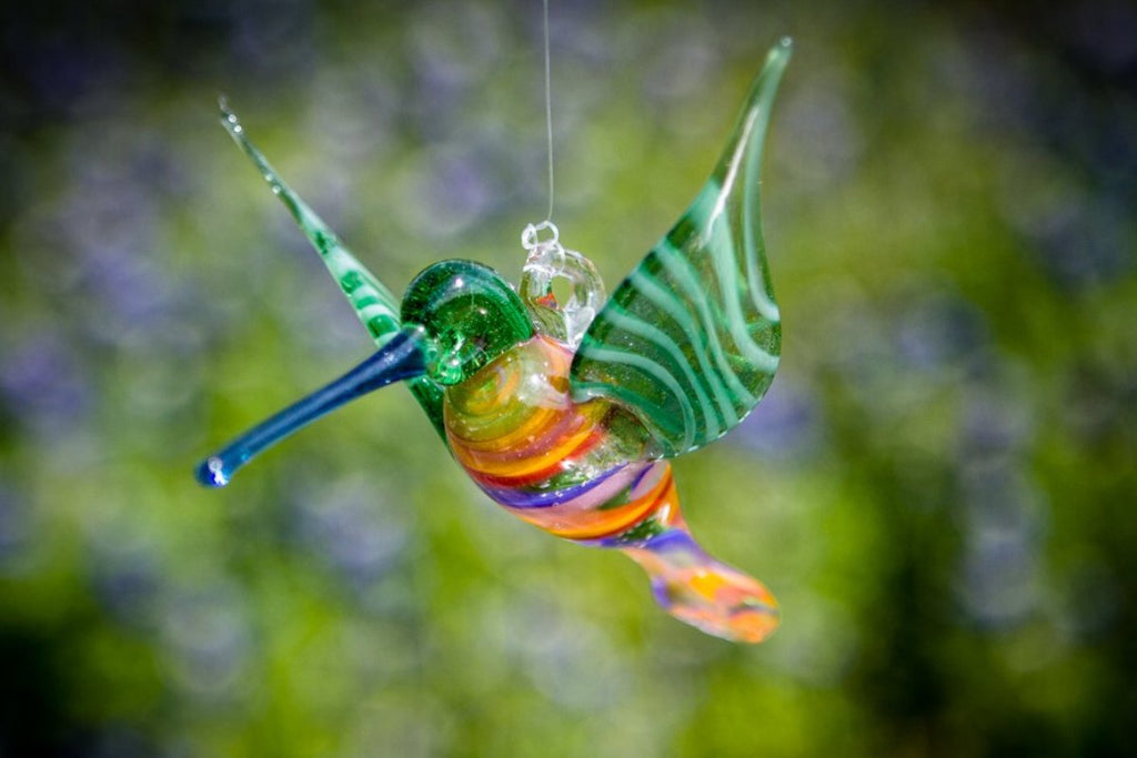 Rainbow Glass Hummingbird with Infused Ash - SUNCATCHER | $124.00