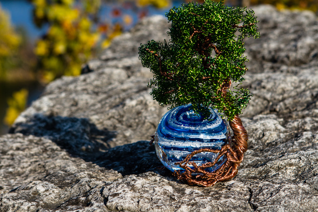 Ponderosa Tree Of Life with Bubble Twist Orb Infused with Cremains - PAPERWEIGHT | $439.00
