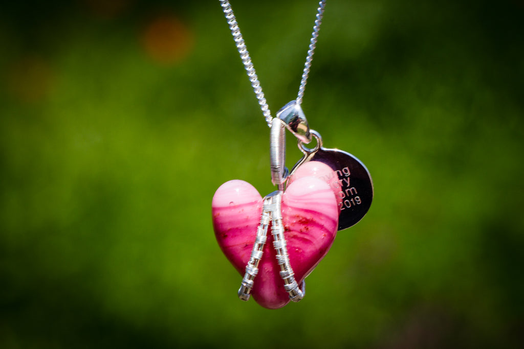 Silver Wire Wrapped Glass Heart with Cremation Ashes - Cremation Jewelry | $184.00