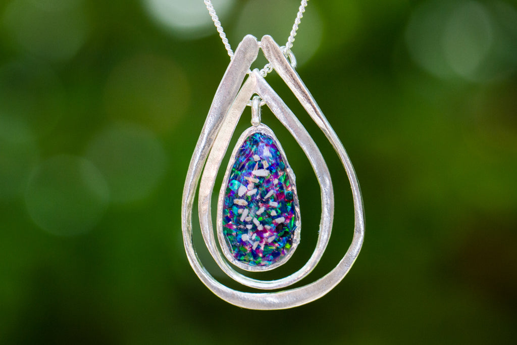 Triple Stacked Pendant - Cremation Jewelry | $159.00
