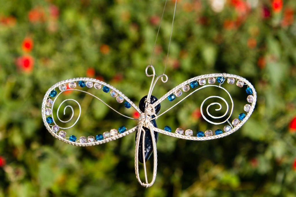 Butterfly Memorial Ornament - Silverwrapped with Swarovski Beading