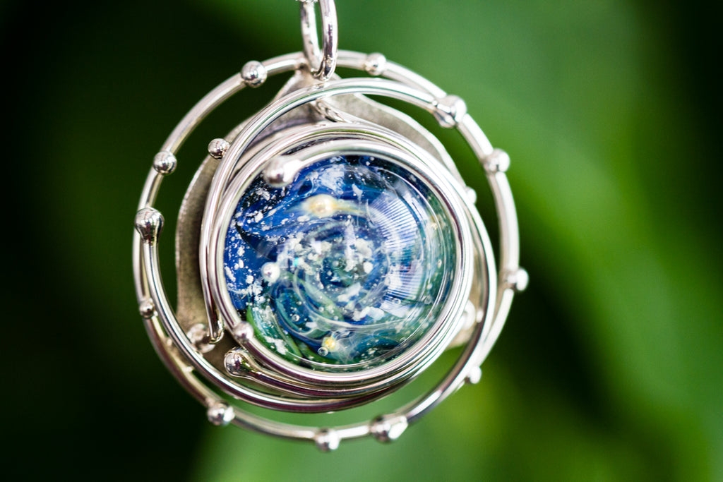 Caged Glass Ocean Necklace- Cremation Jewelry - Cremation Jewelry | $459.00