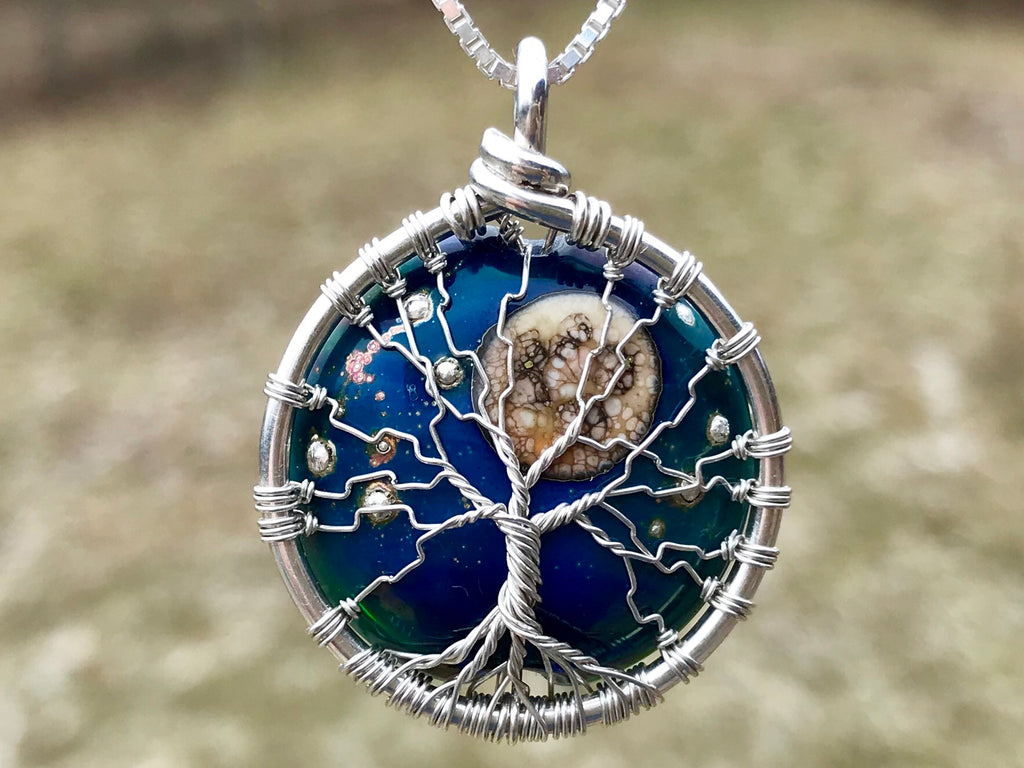 Moon and Stars Tree of Life Pendant with Cremains - Cremation Jewelry | $289.00