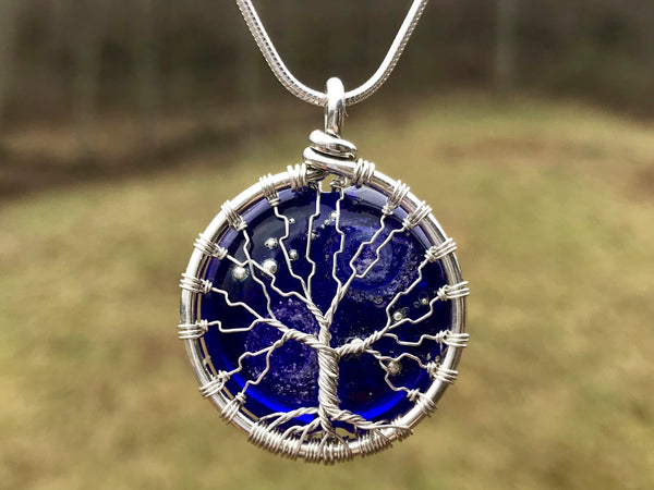 Starry galaxy tree of life pendant with cremains