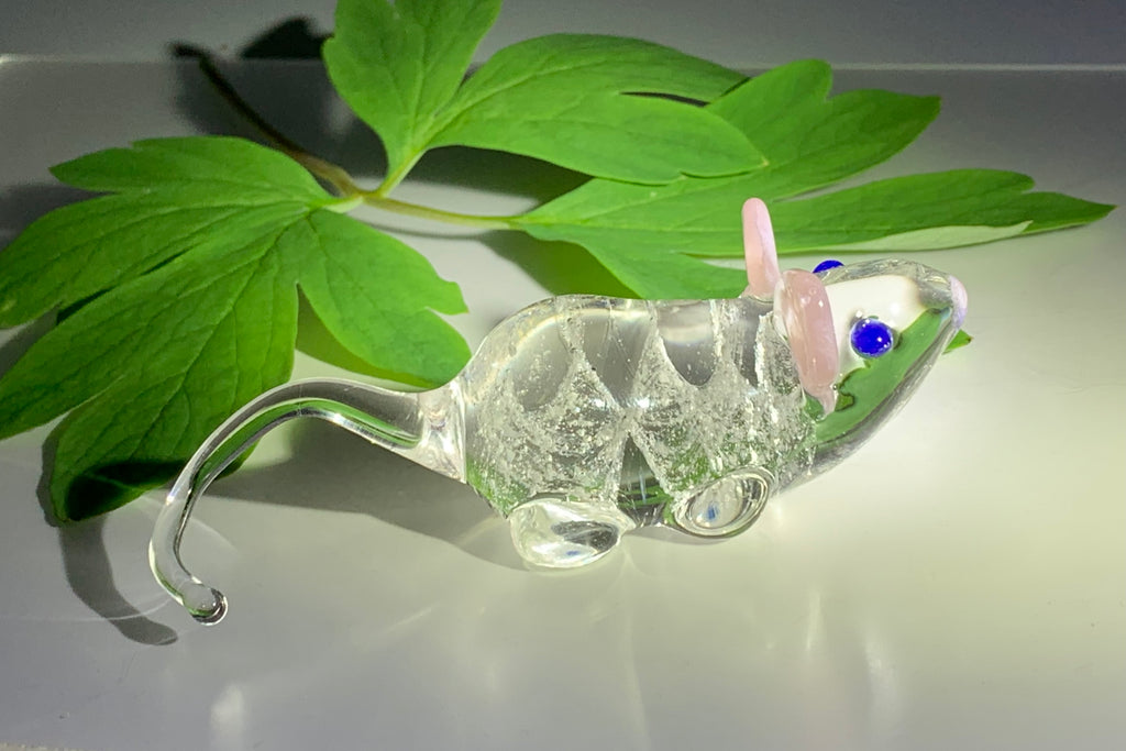 glass mouse with cremation ash