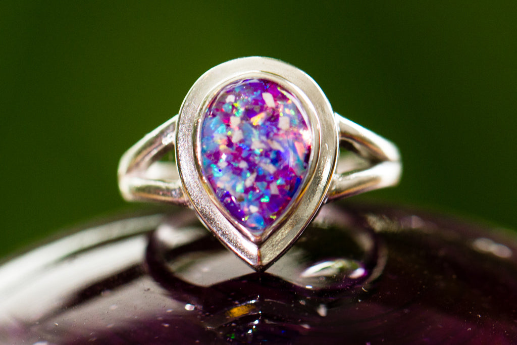 opal and silver cremation jewelry