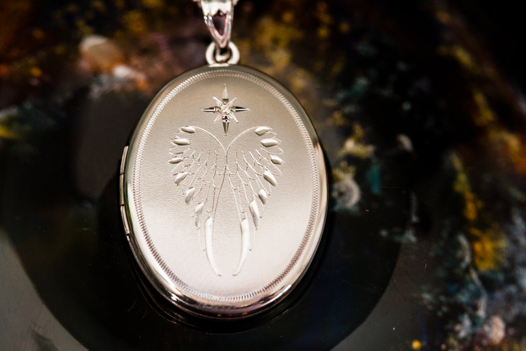 Guardian Angel Sterling Silver Locket - Cremation Jewelry | $59.00