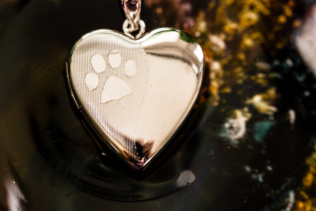 Pawprint Sterling Silver Locket - Cremation Jewelry | $59.00