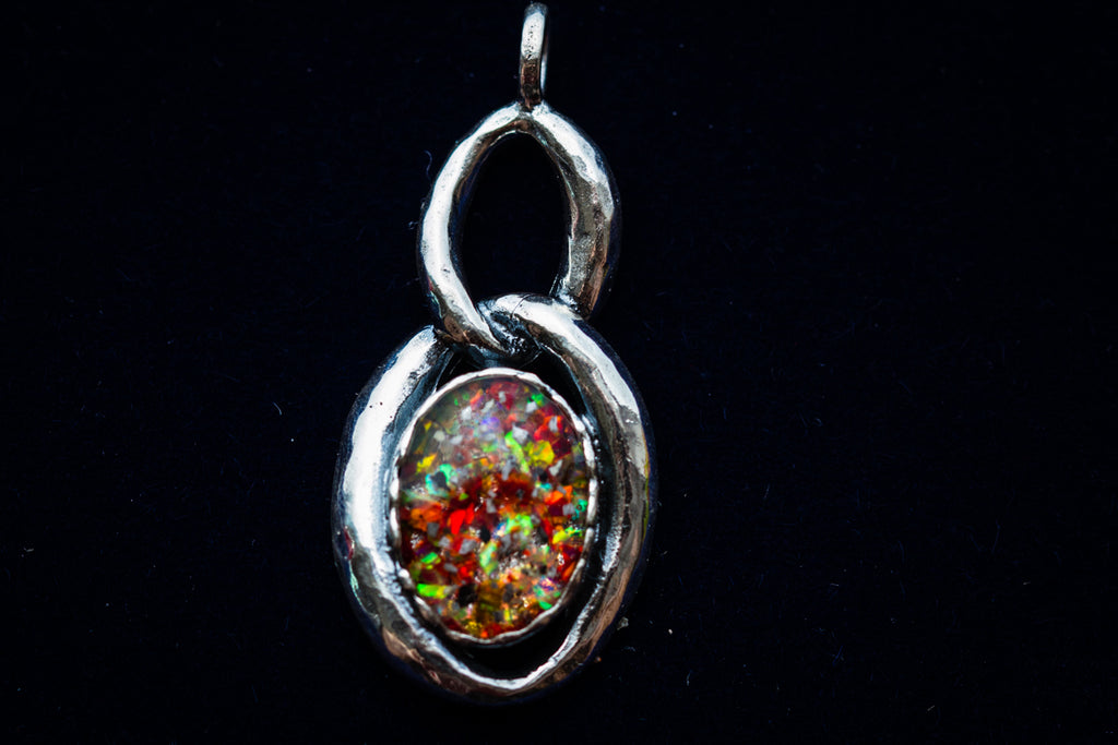 silver cremation jewelry with opal
