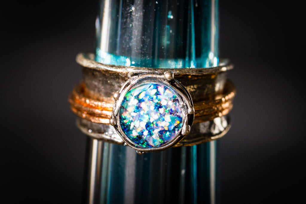 silver and opal ring with cremation ash