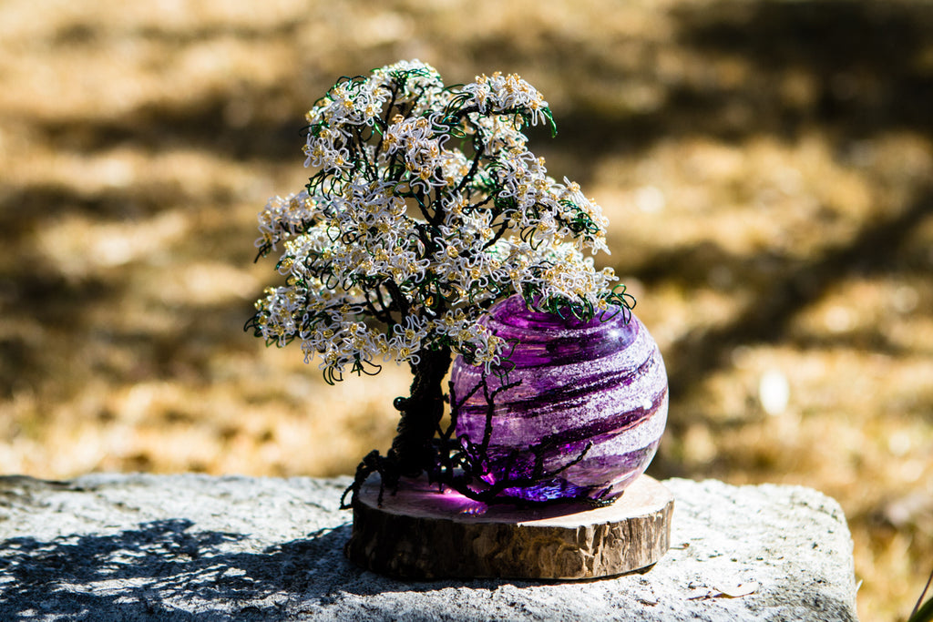 White Dogwood Tree of Life and Sparkle Swirl Orb with Infused Ash by Rachel - PAPERWEIGHT | $489.00, ashes in glass