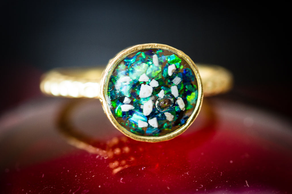 cremation jewelry ring - gold plated ring with cremation ash and crushed opal