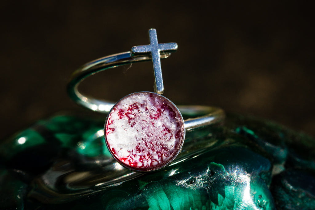 Silver cross ring with cremation ashes Cremation Jewelry