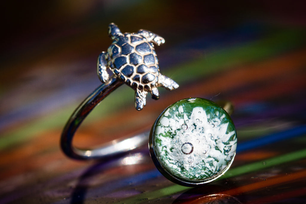 Sea turtle Silver ring with cremation ashes Cremation Jewelry
