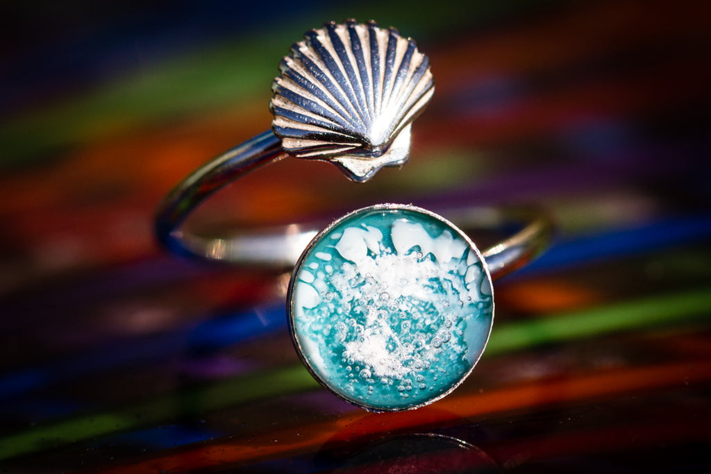 Seashell Silver ring with cremation ashes Cremation Jewelry