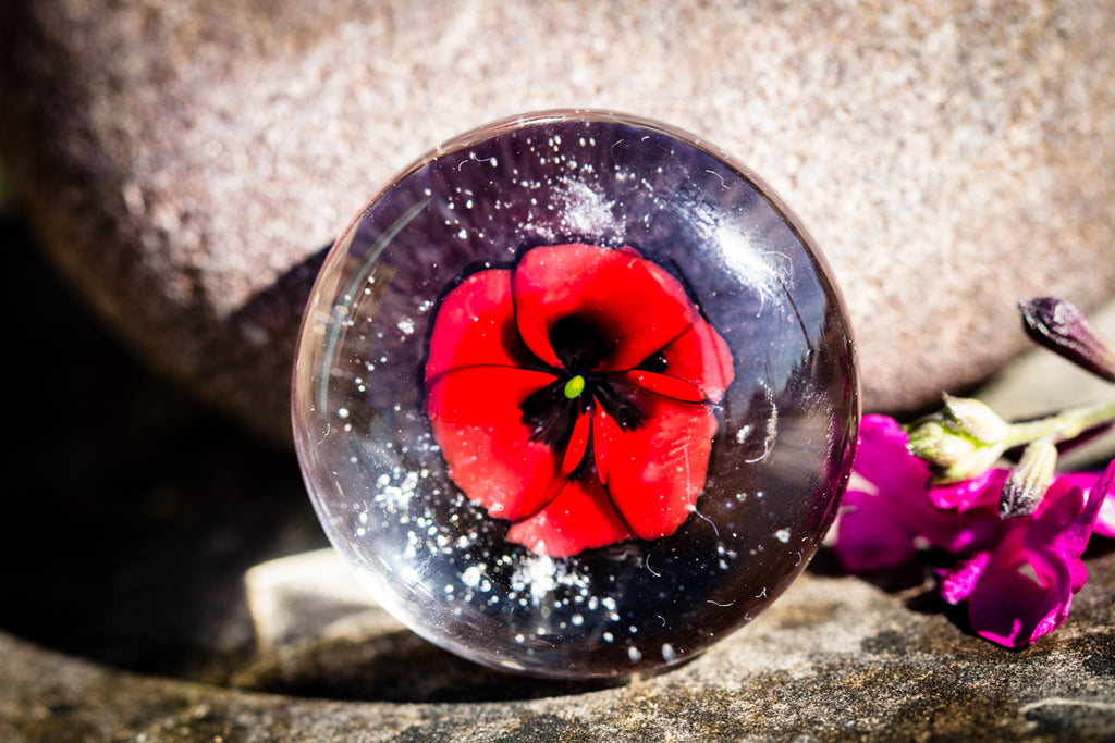 Poppy Glass Touchstone with Infused Cremains by DanBourguois - TOUCHSTONES | $84.00, ashes in glass