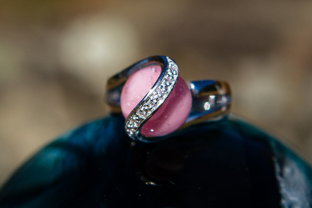 Sparkle Ring with 12mm Opaque Glass Marble Infused with Cremains